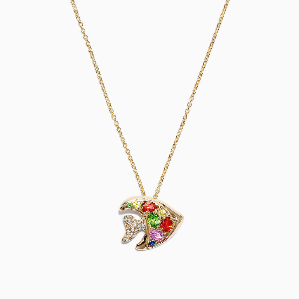 Effy Watercolors 14K Gold Multi Sapphire and Diamond Fish Pendant, 1.06 TCW