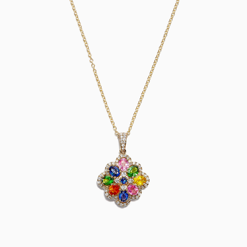 Effy Watercolors 14K Yellow Gold Multi Sapphire & Diamond Pendant, 1.85 TCW