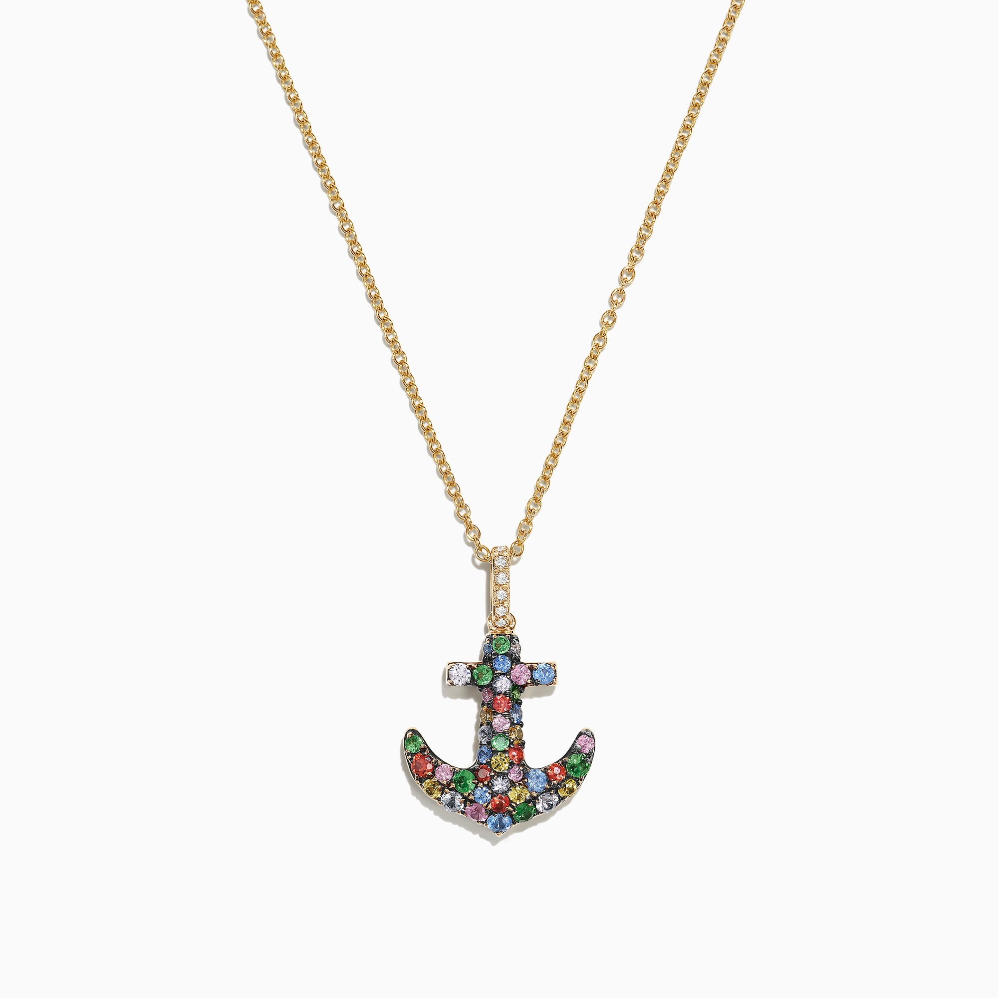 Effy Watercolors 14K Gold Multi Sapphire Diamond Anchor Pendant, 0.76 TCW
