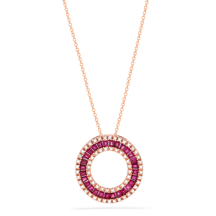 Effy 14K Rose Gold Ruby and Diamond Circle Pendant, 1.90 TCW