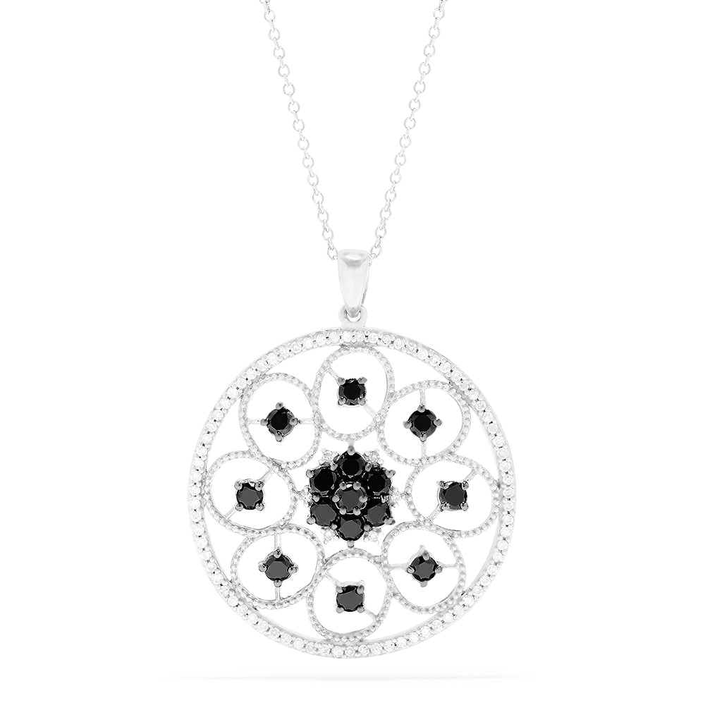 Effy 14K White Gold Black and White Diamond Kaleidoscope Pendant, 1.43 TCW