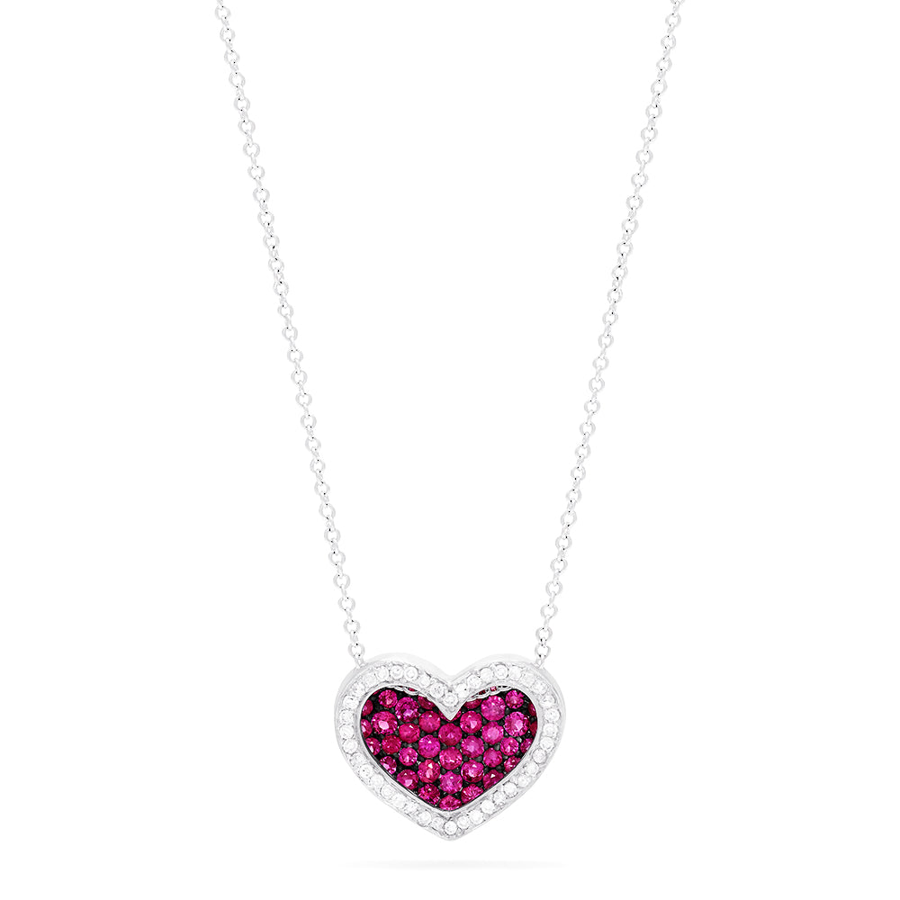 Effy 14K White Gold Ruby and Diamond Heart Pendant, 0.74 TCW