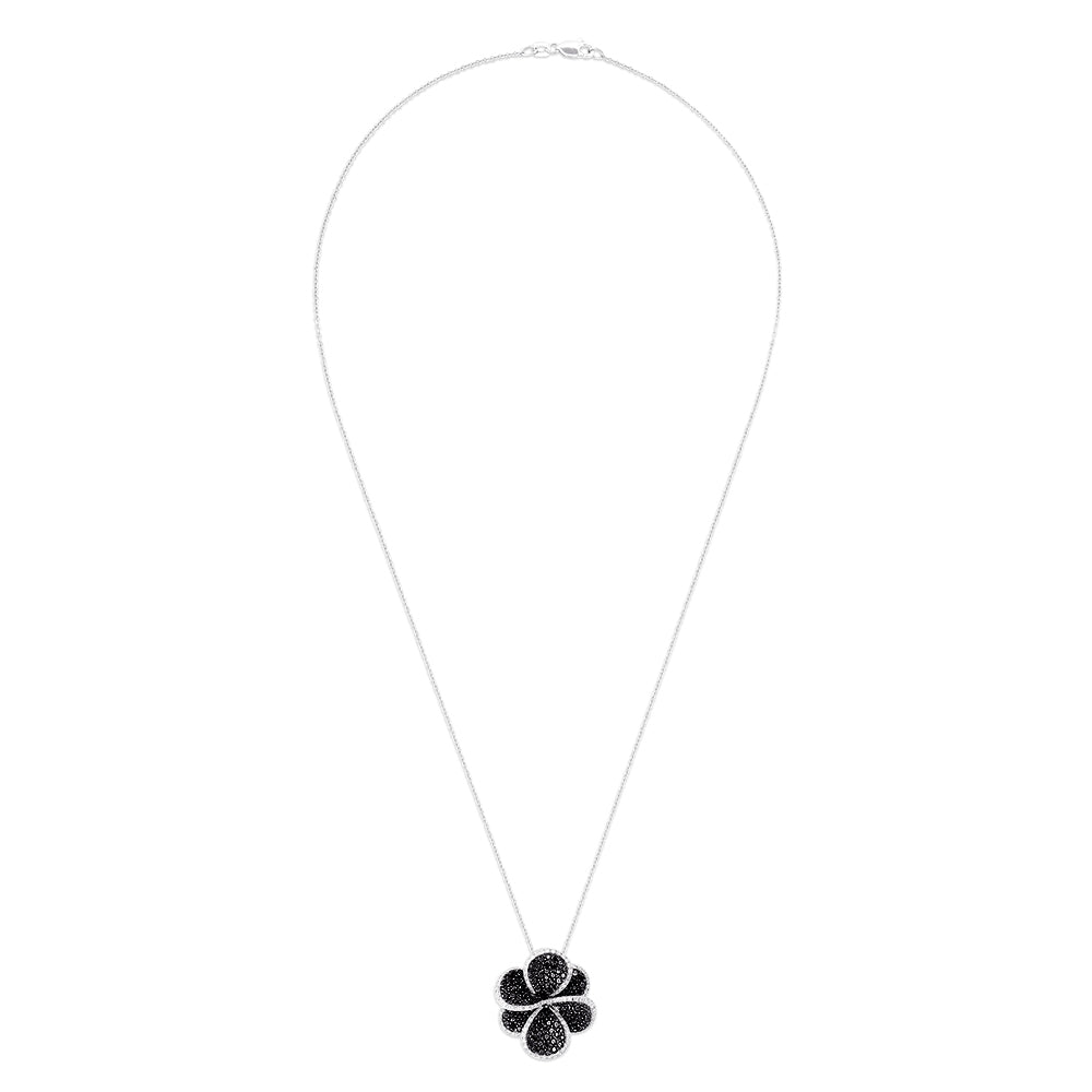Eff 14K White Gold Black and White Diamond Flower Pendant, 1.98 TCW