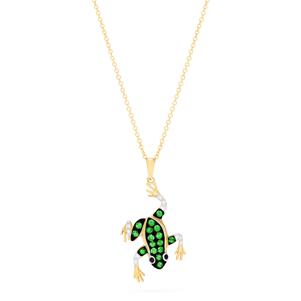 Effy Safari 14K Yellow Gold Tsavorite and Diamond Frog Pendant, 0.39 TCW