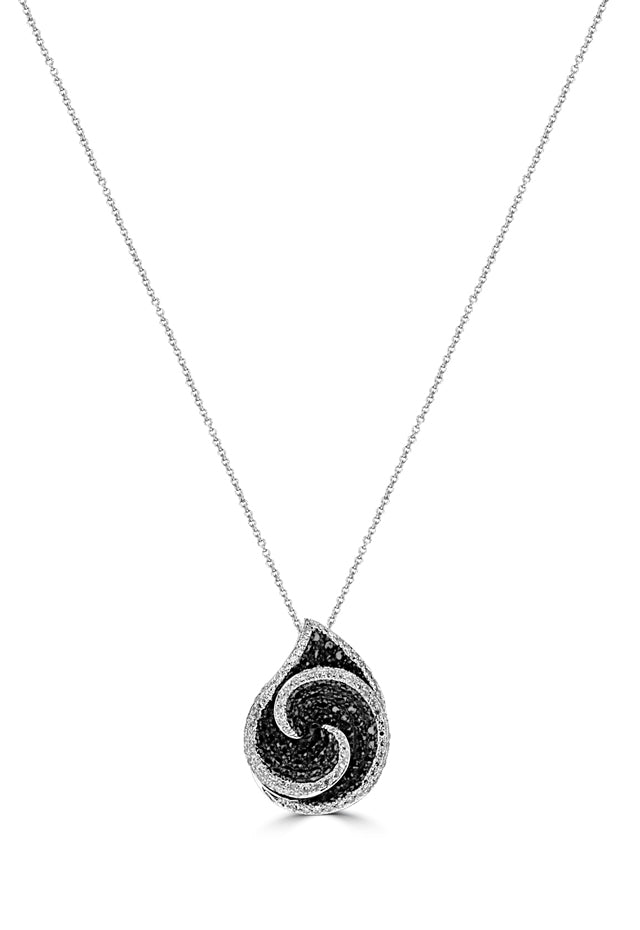 Effy 14K White Gold Black and White Diamond Pendant, 0.99 TCW