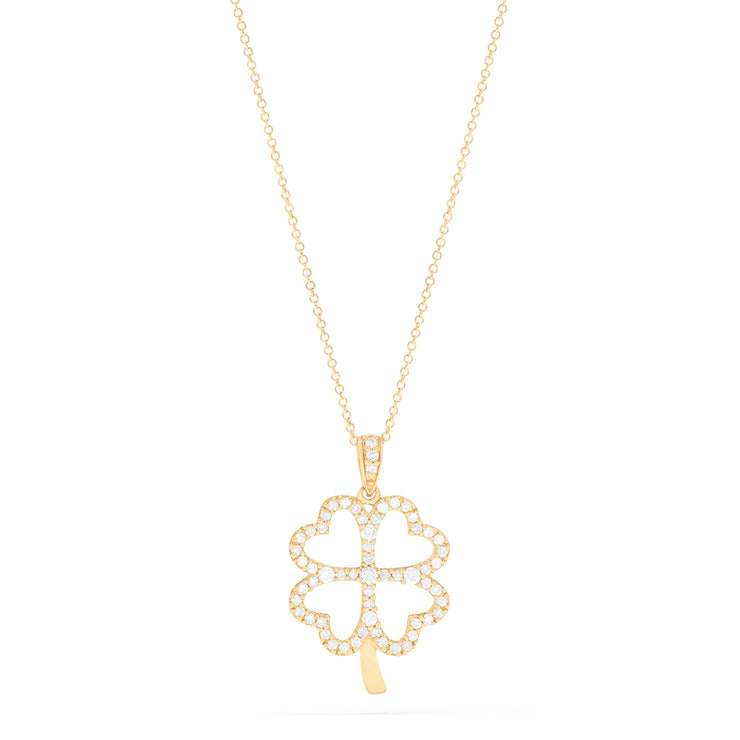 Effy 14K Yellow Gold Diamond Clover Pendant, 0.35 TCW