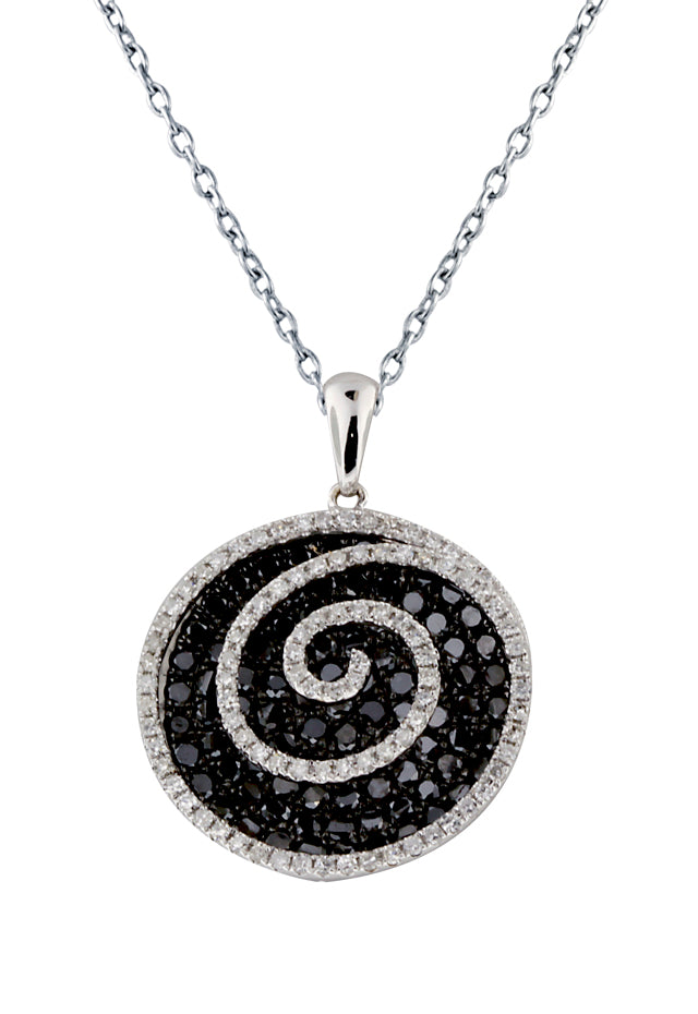 14K White Gold Black & White Diamond Pendant, 1.75 TCW