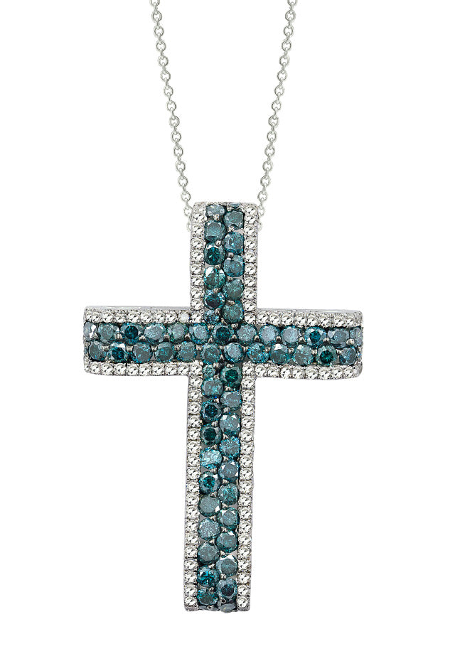 14K White Gold Blue and White Diamond Cross Pendant