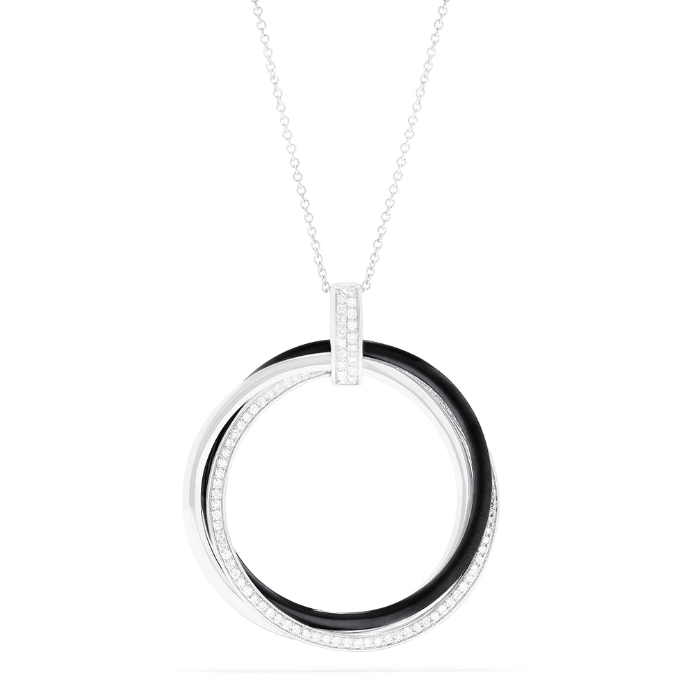 Effy 14K White Gold Diamond Interlocking Circles Pendant, 0.30 TCW