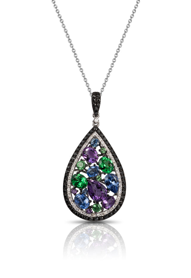14K White Gold Multi Gemstone and Diamond Pendant