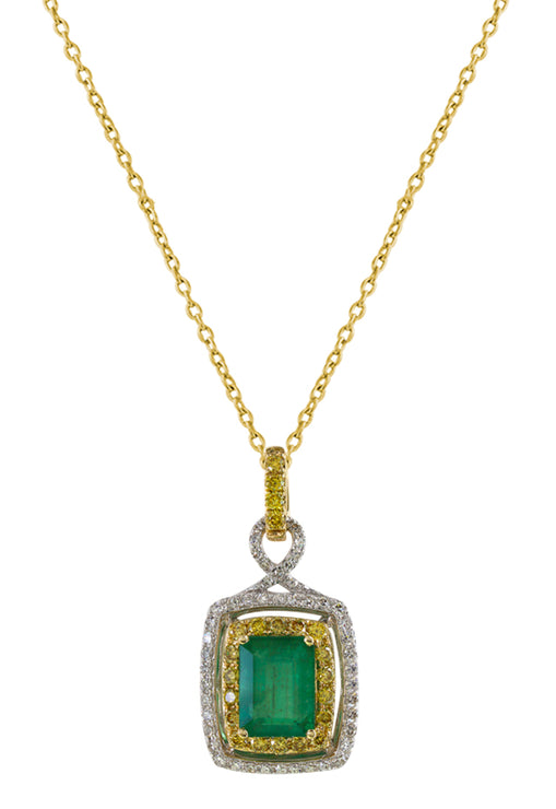 Effy 14K 2-Tone Gold Emerald, Yellow and White Diamond Pendant, 1.88 TCW