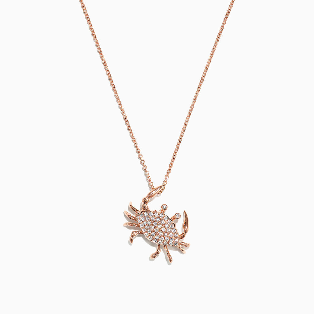 Effy Seaside 14K Yellow Gold Pave Diamond Crab Pendant, 0.21 TCW