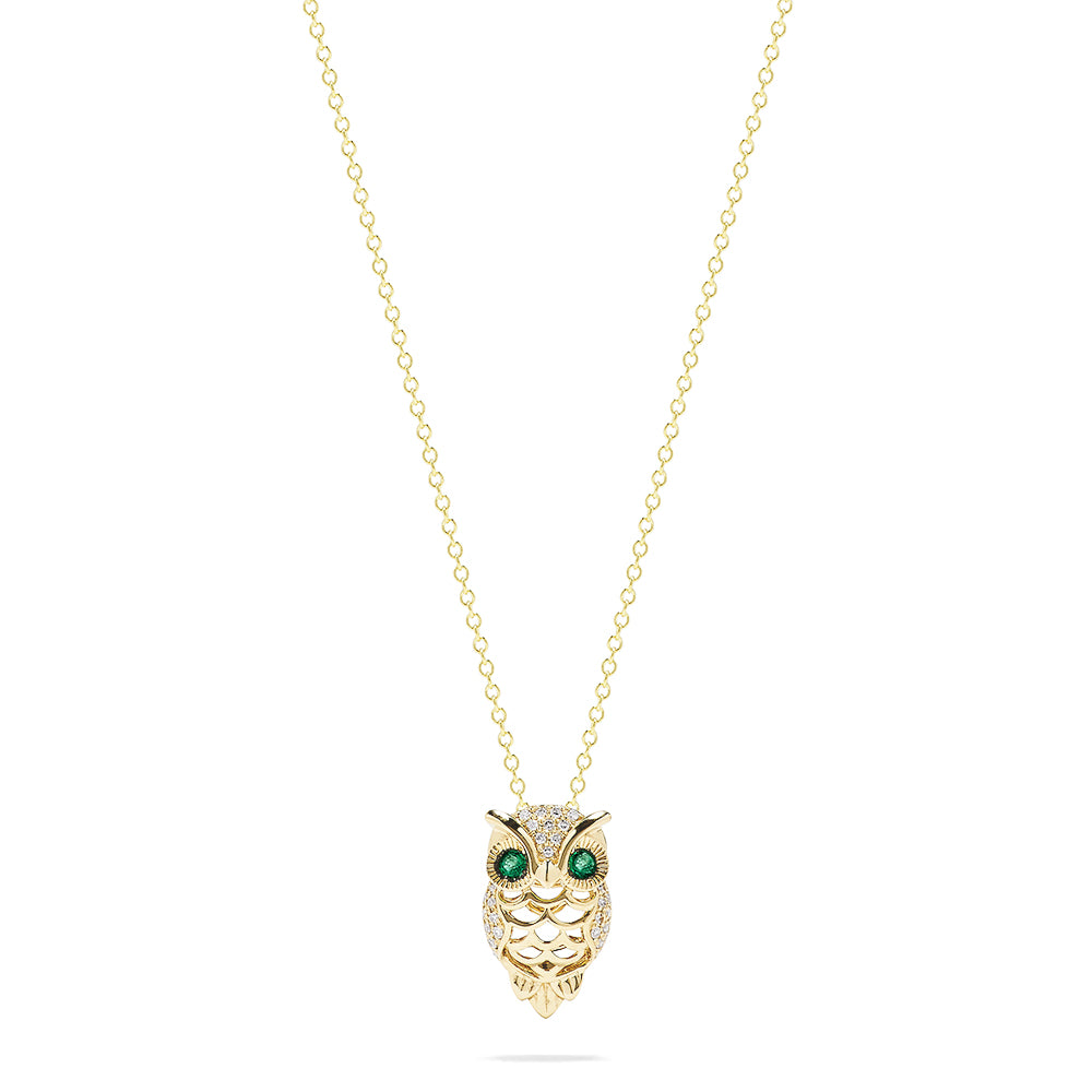 Effy Safari 14K Yellow Gold Emerald and Diamond Owl Pendant, 0.18 TCW