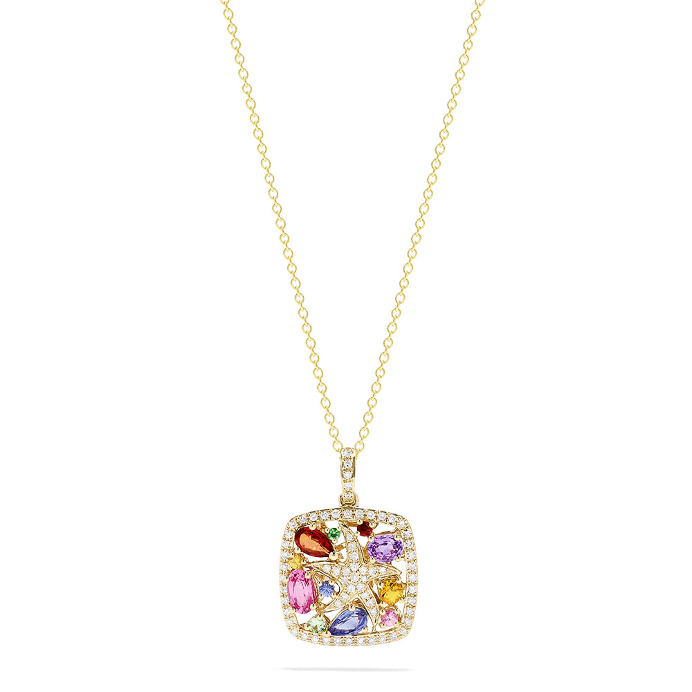 Effy Watercolors 14K Gold Sapphire and Diamond Starfish Pendant, 1.58 TCW