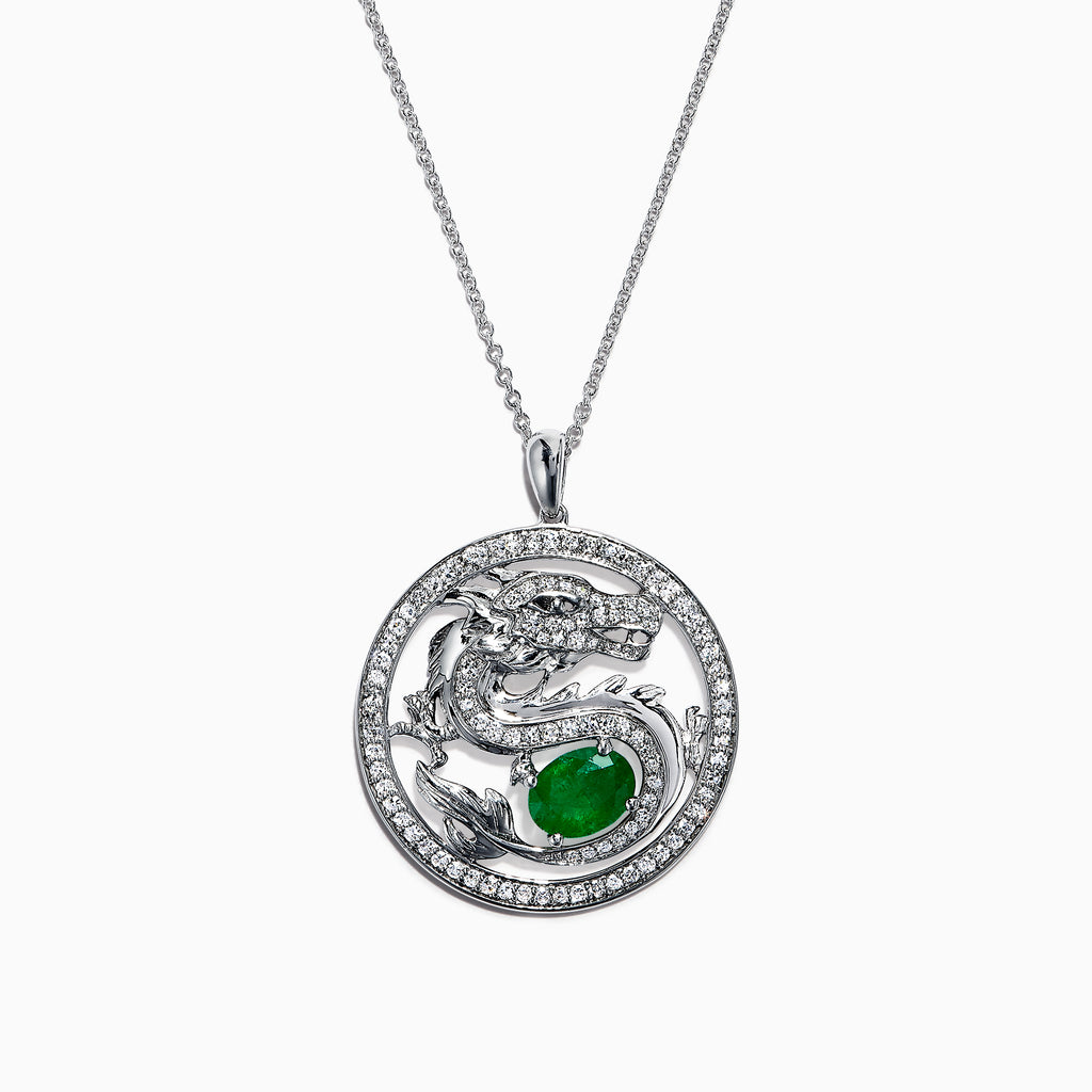 Effy Safari 14K Gold Diamond & Emerald Dragon Pendant, 1.83 TCW