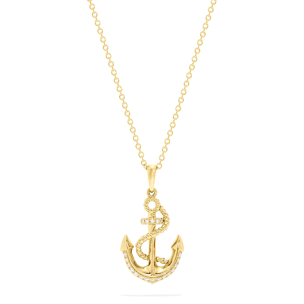 Effy Seaside 14K Yellow Gold Diamond Anchor Pendant, 0.06 TCW