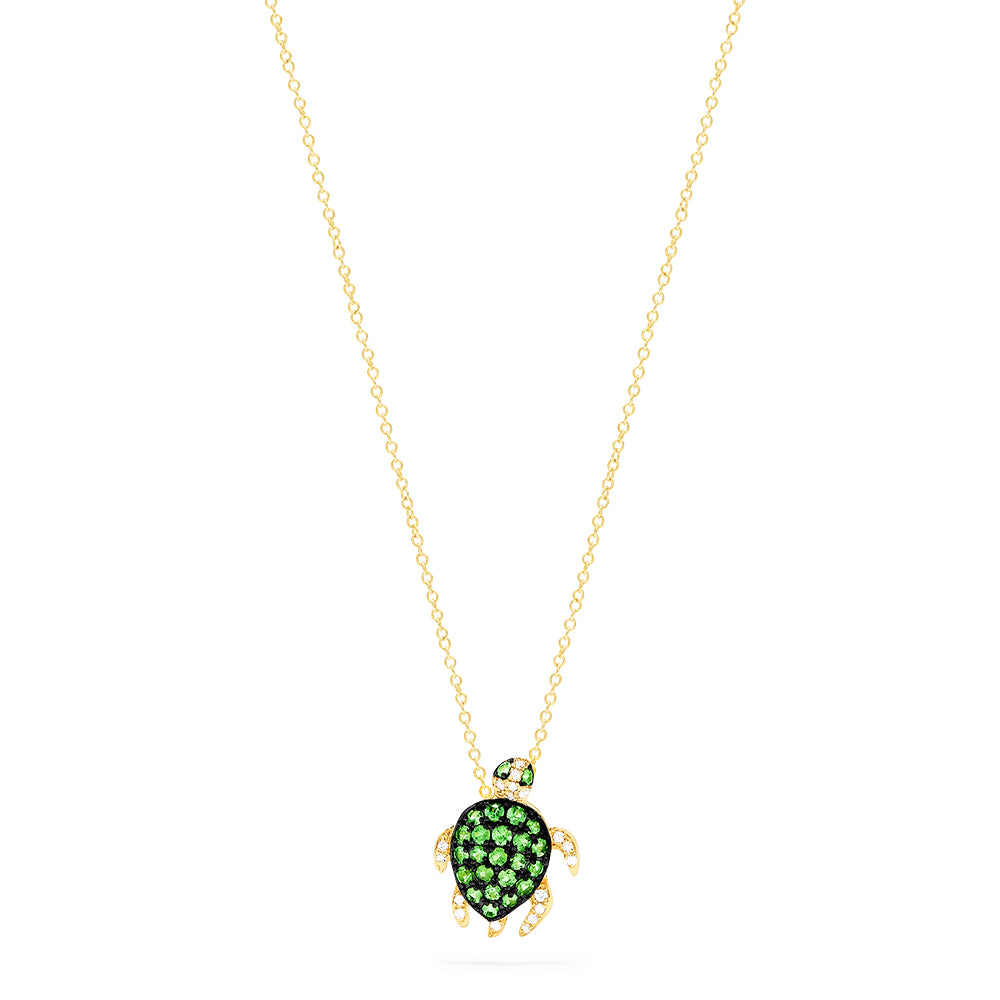Effy Safari 14K Yellow Gold Tsavorite and Diamond Mini Turtle Pendant