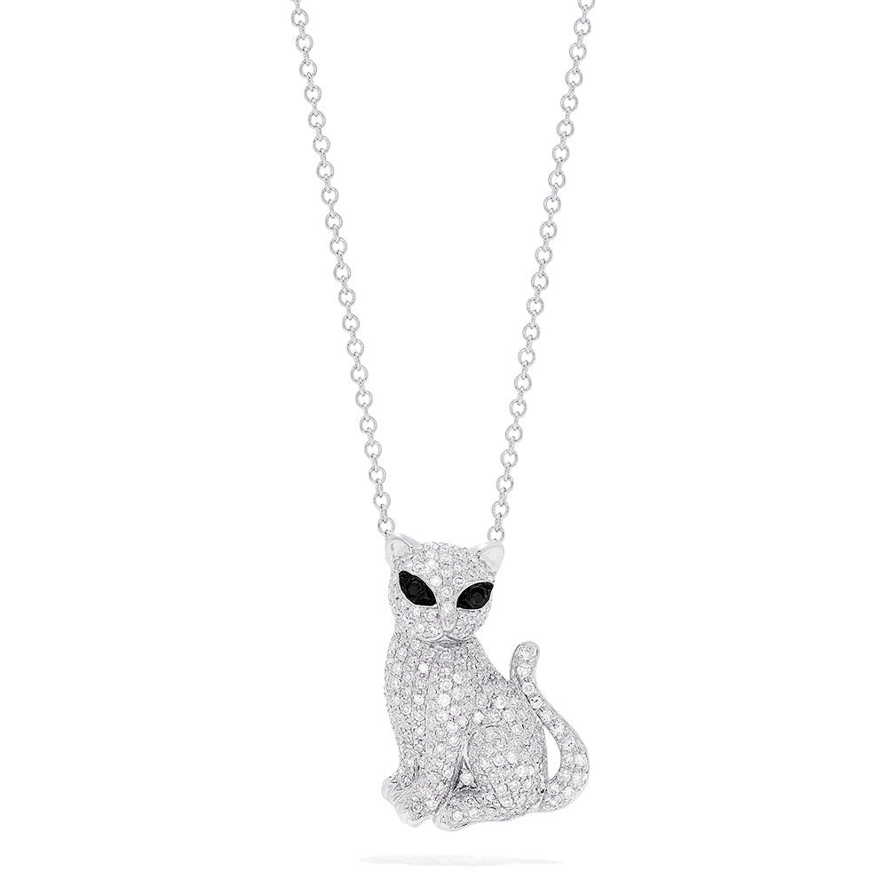 Effy Novelty 14K White Gold Diamond Kitten Pendant, 0.65 TCW