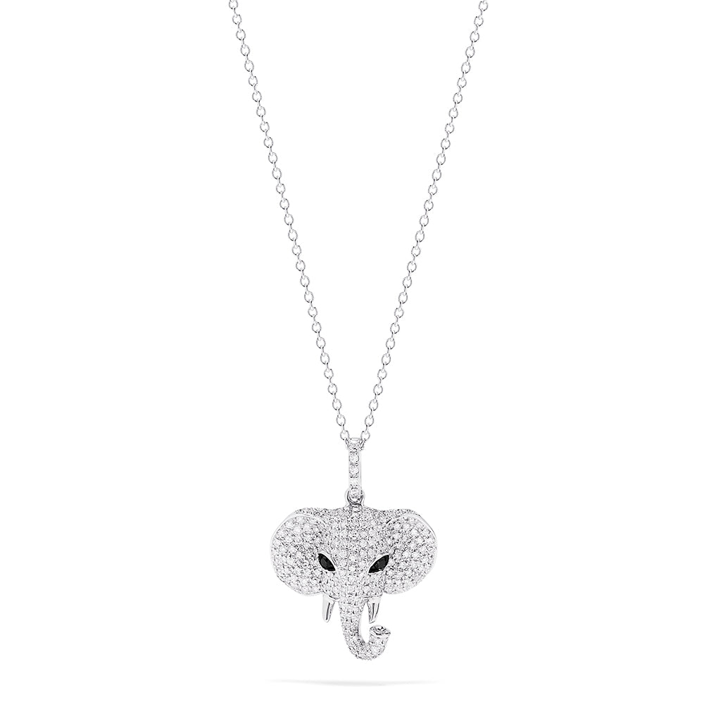 Effy Novelty 14K White Gold Diamond Elephant Pendant, 0.73 TCW