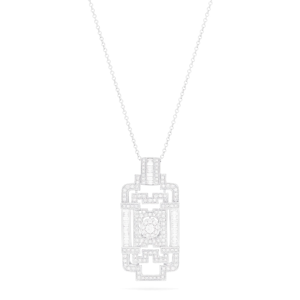 Effy Art Deco 14K White Gold Diamond Pendant, 1.08 TCW