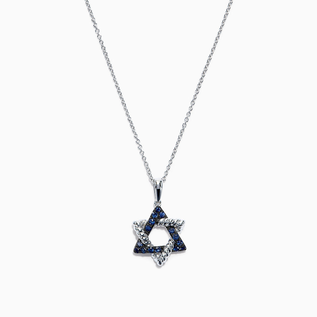Effy Novelty 14K White Gold Blue Sapphire Star of David Pendant, 0.20 TCW