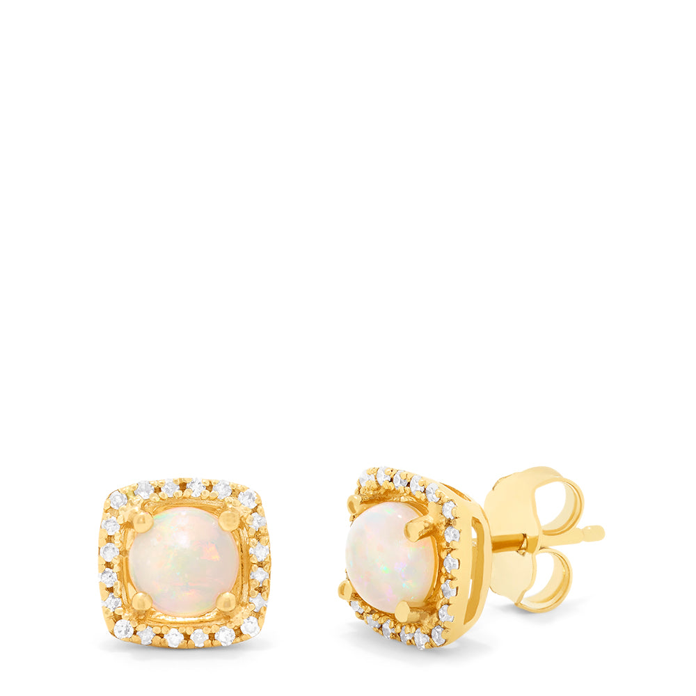 Effy Aurora 14K Yellow Gold Opal and Diamond Stud Earrings, 0.92 TCW
