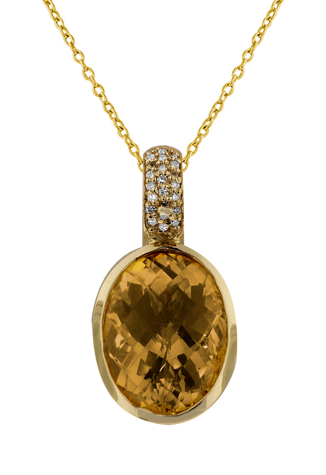 14K Yellow Gold Citrine and Diamond Pendant, 8.29 TCW