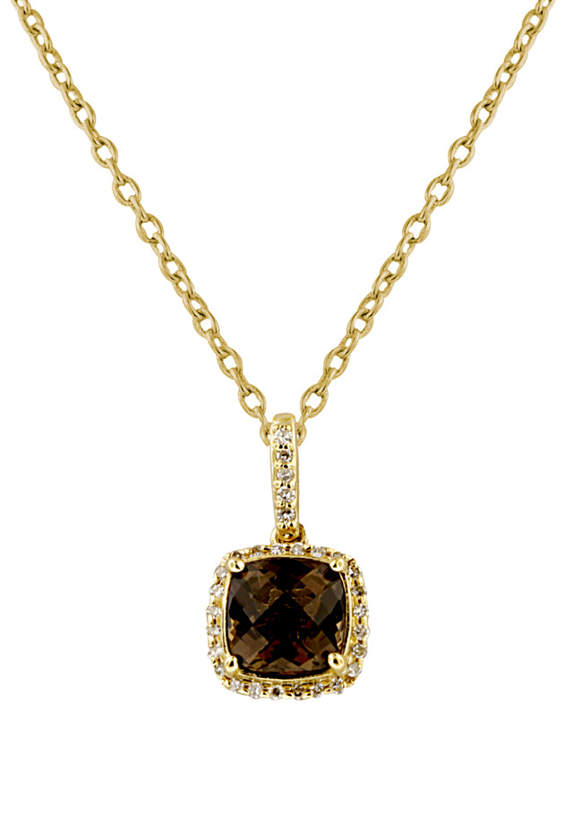 Effy 14K Yellow Gold Smokey Quartz and Diamond Pendant, 1.47 TCW