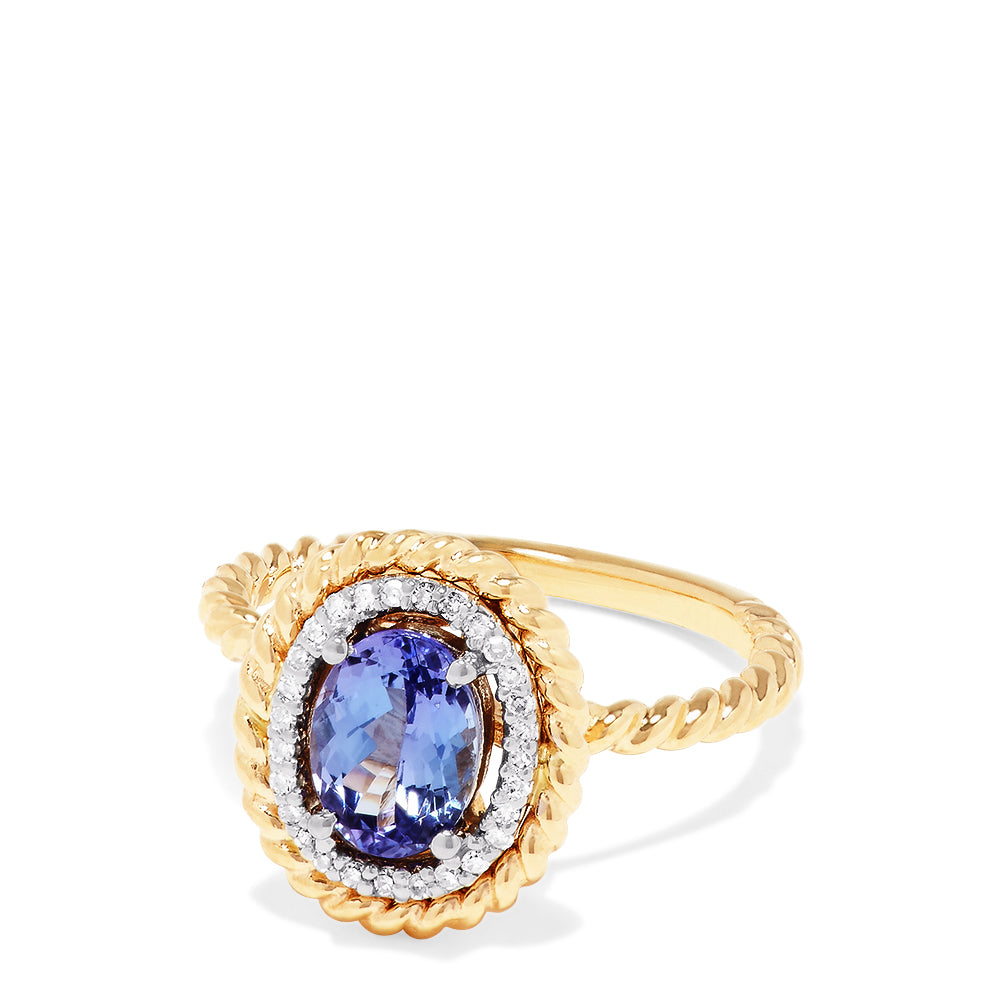 Effy 14K Yellow and White Gold Tanzanite and Diamond Ring, 1.30 TCW