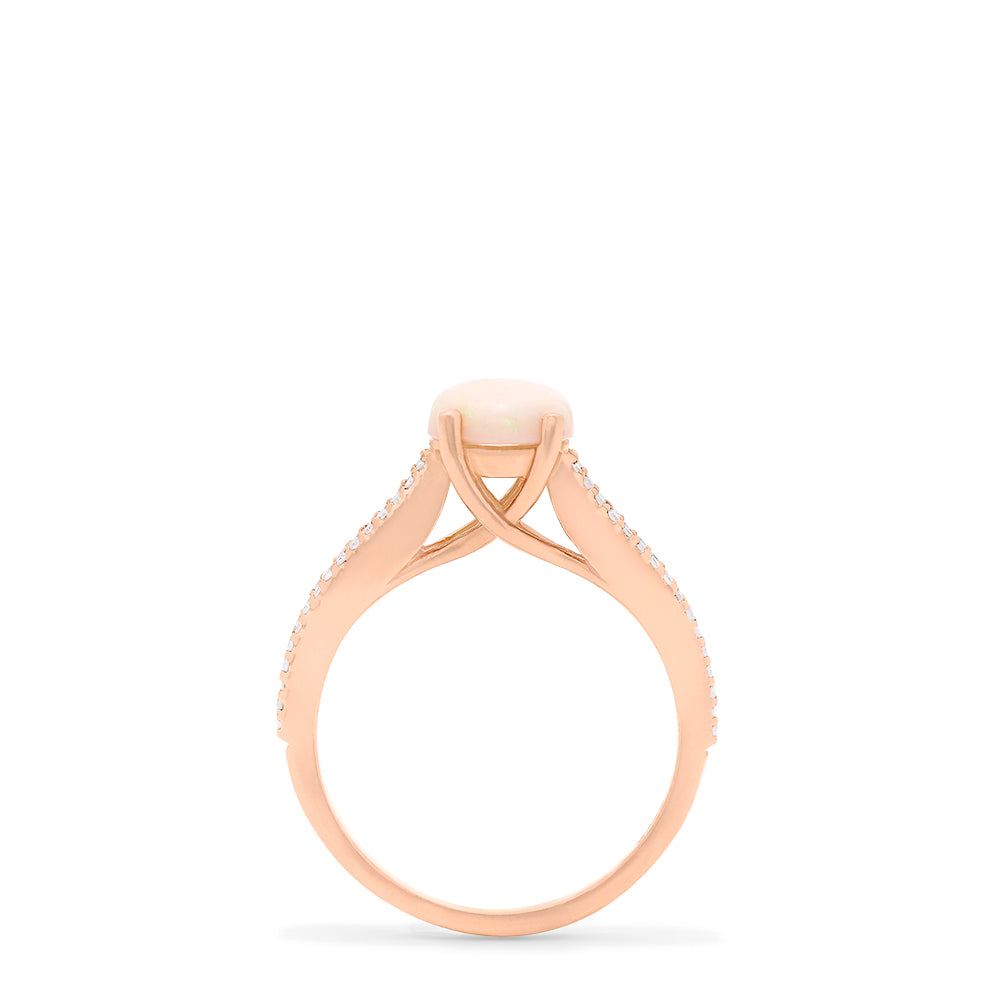 Effy Aurora 14K Rose Gold Opal and Diamond Ring, 1.14 TCW