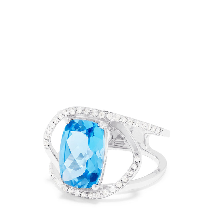 Effy 14K White Gold Blue Topaz and Diamond Ring, 4.51 TCW
