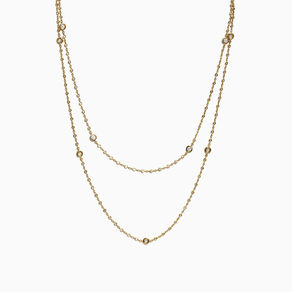Effy D'Oro 14K Yellow Gold Diamond Station Necklace, 1.35 TCW