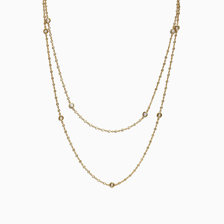 Effy 14K Yellow Gold Diamond Station Necklace, 1.35 TCW