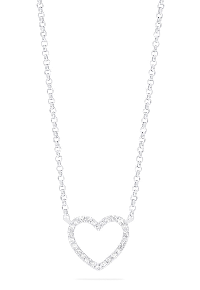 Effy Novelty 14K White Gold Diamond Heart Pendant, 0.10 TCW