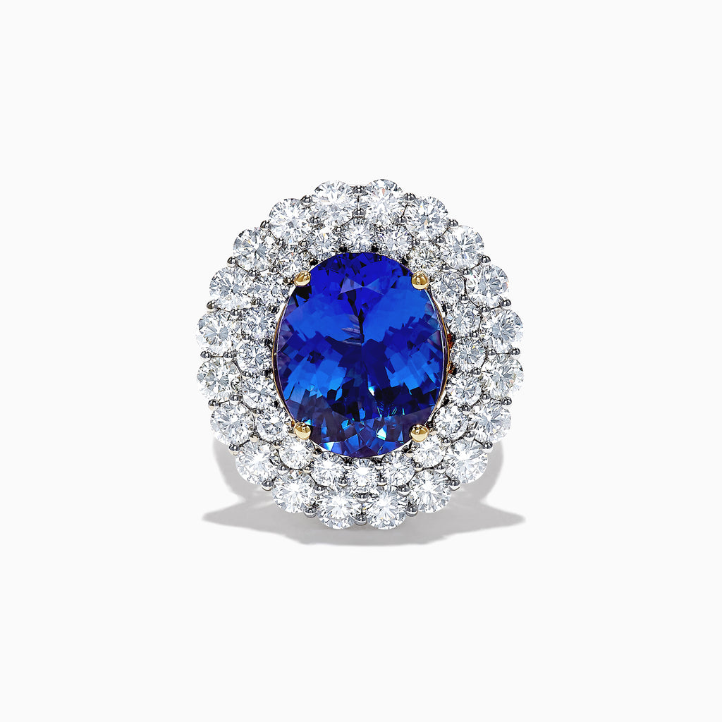 Effy Tanzanite Royale 18K White Gold Tanzanite and Diamond Ring, 12.41 TCW