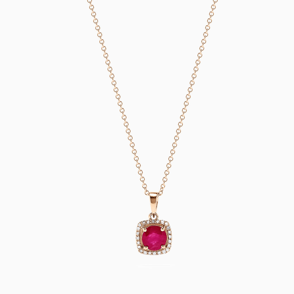 Effy 14K Rose Gold Ruby and Diamond Pendant, 1.04 TCW