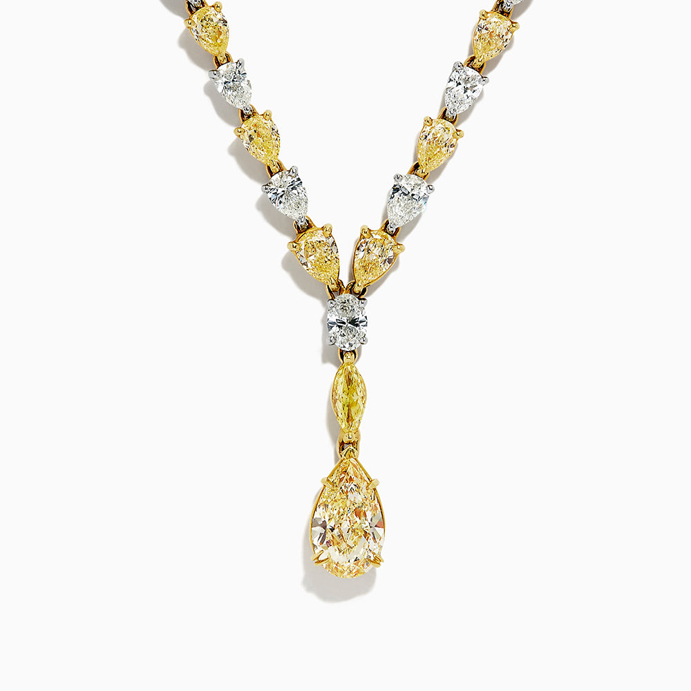 18K Two Tone Gold Yellow and White Diamond Necklace, 27.89 TCW