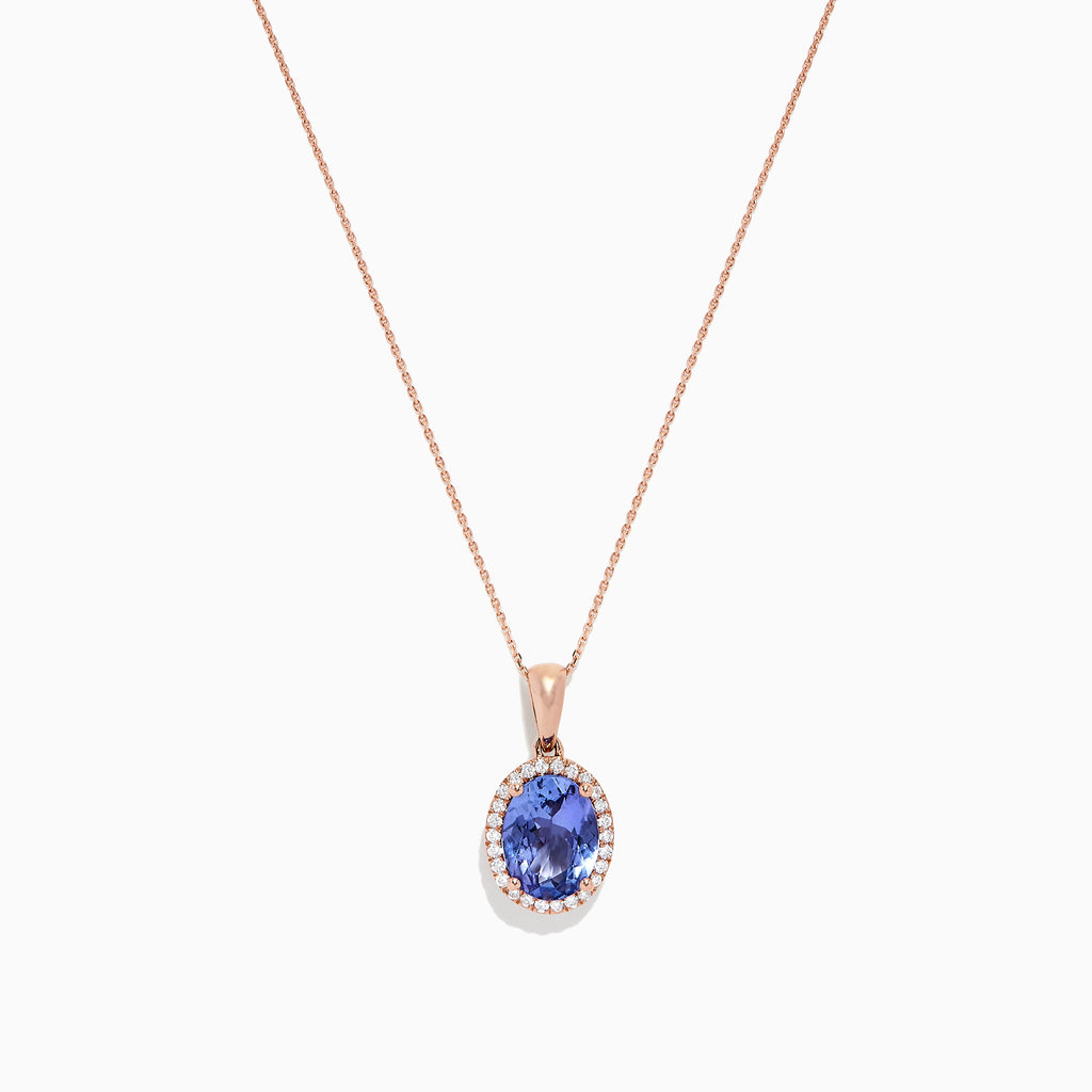 Effy Tanzanite Royale 14K Rose Gold Tanzanite and Diamond Pendant, 1.86 TCW
