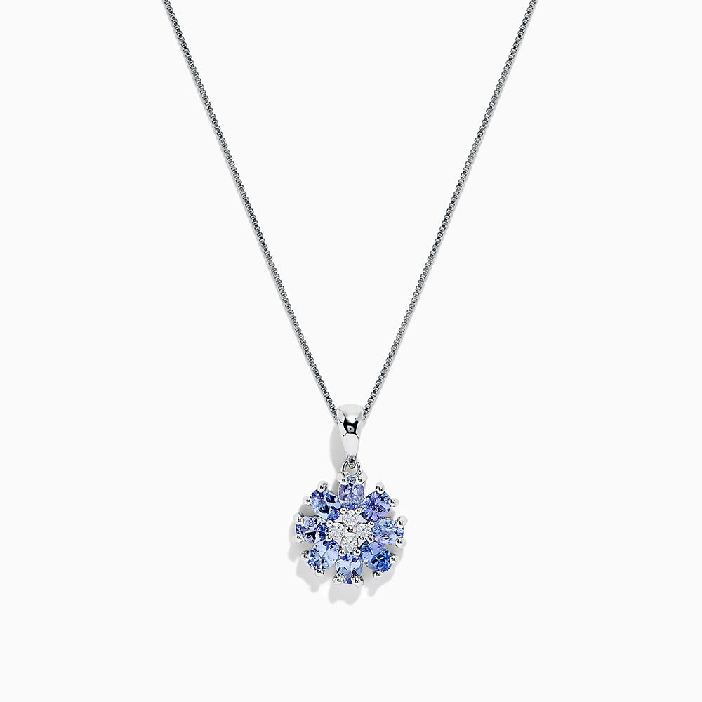 Effy 925 Sterling Silver Tanzanite and Sapphire pendant, 1.52 TCW