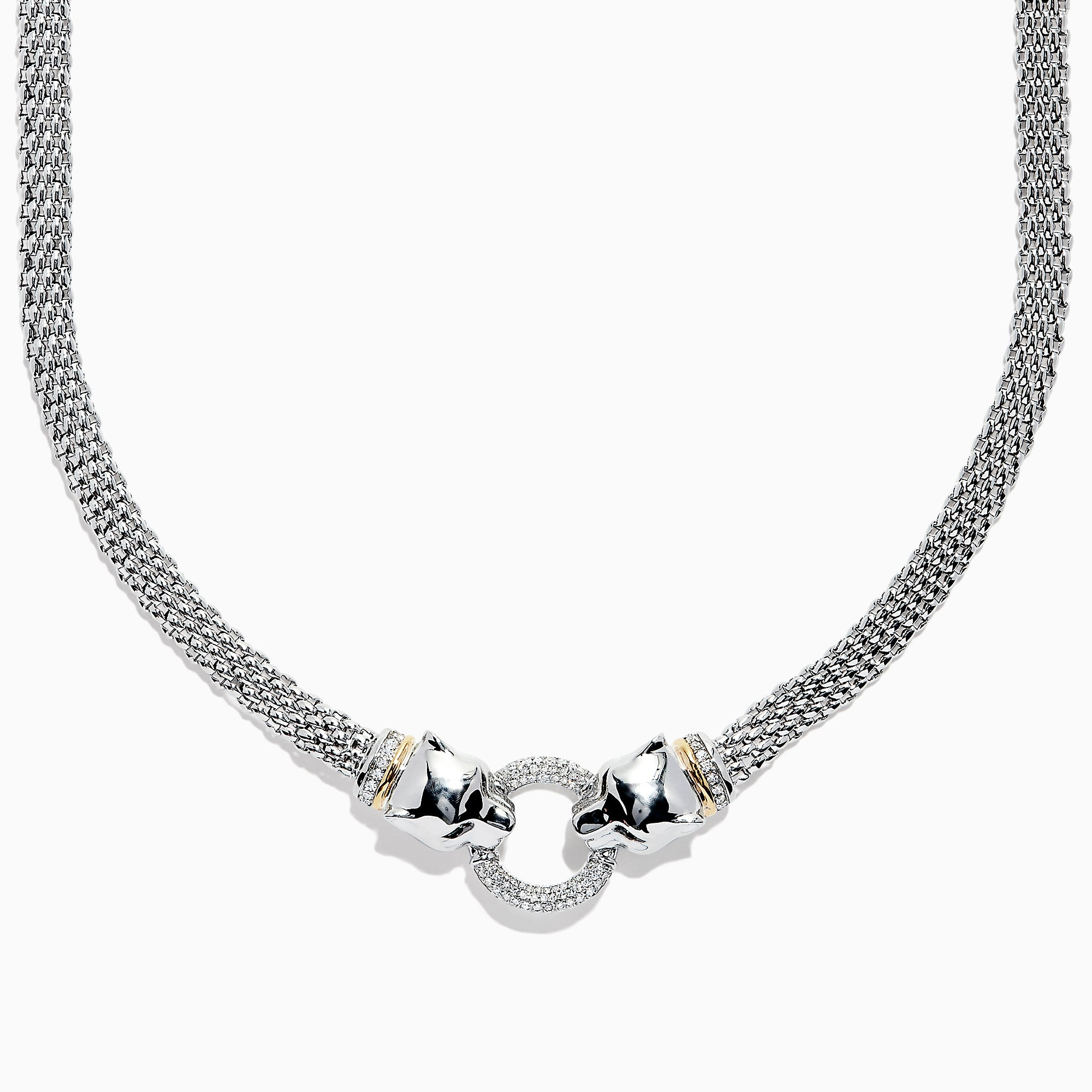 Effy Signature Sterling Silver & 18K Gold Diamond and Tsavorite Panther Necklace, 0.48 TCW