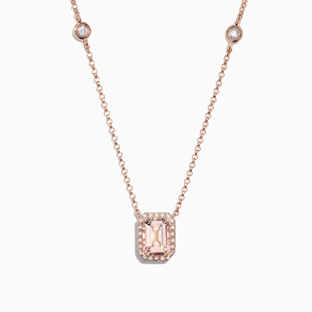 Effy Blush 14K Rose Gold Morganite and Diamond Necklace, 1.16 TCW