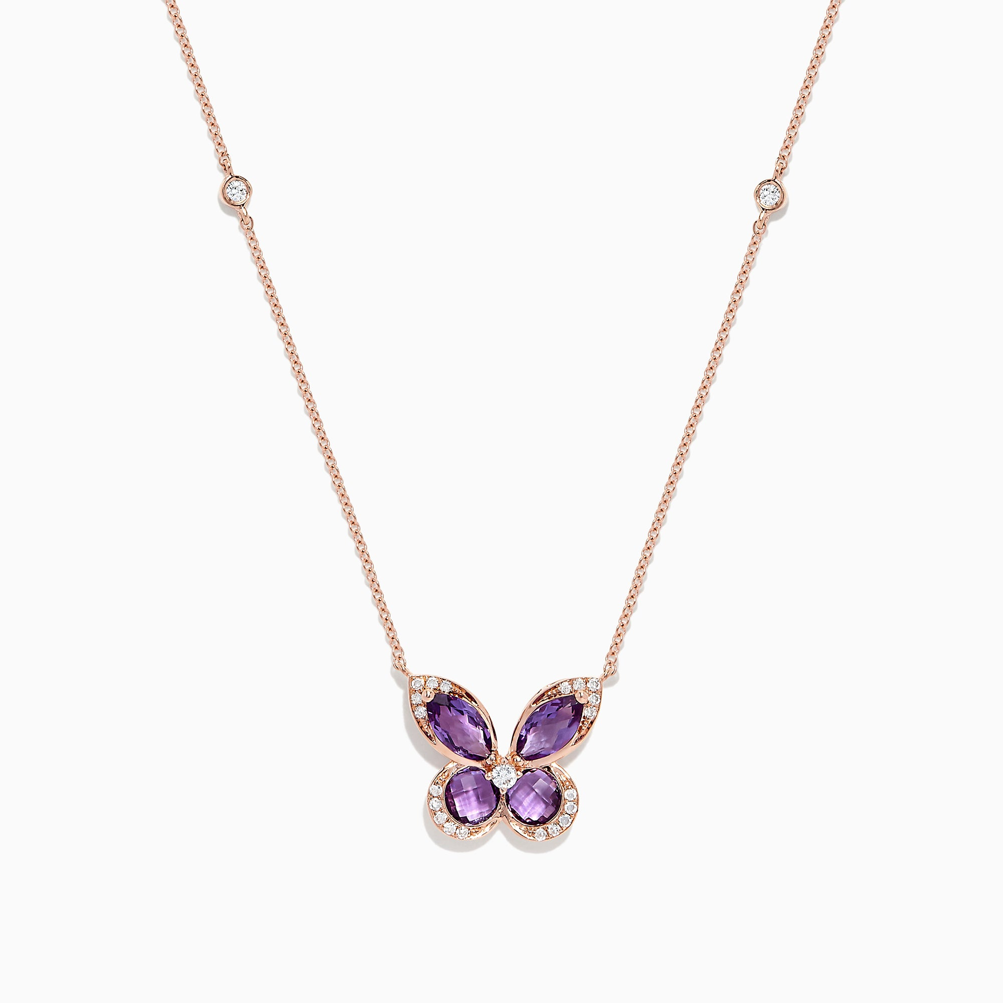 Effy Nature 14K Rose Gold Amethyst and Diamond Butterfly Necklace, 1.27 TCW