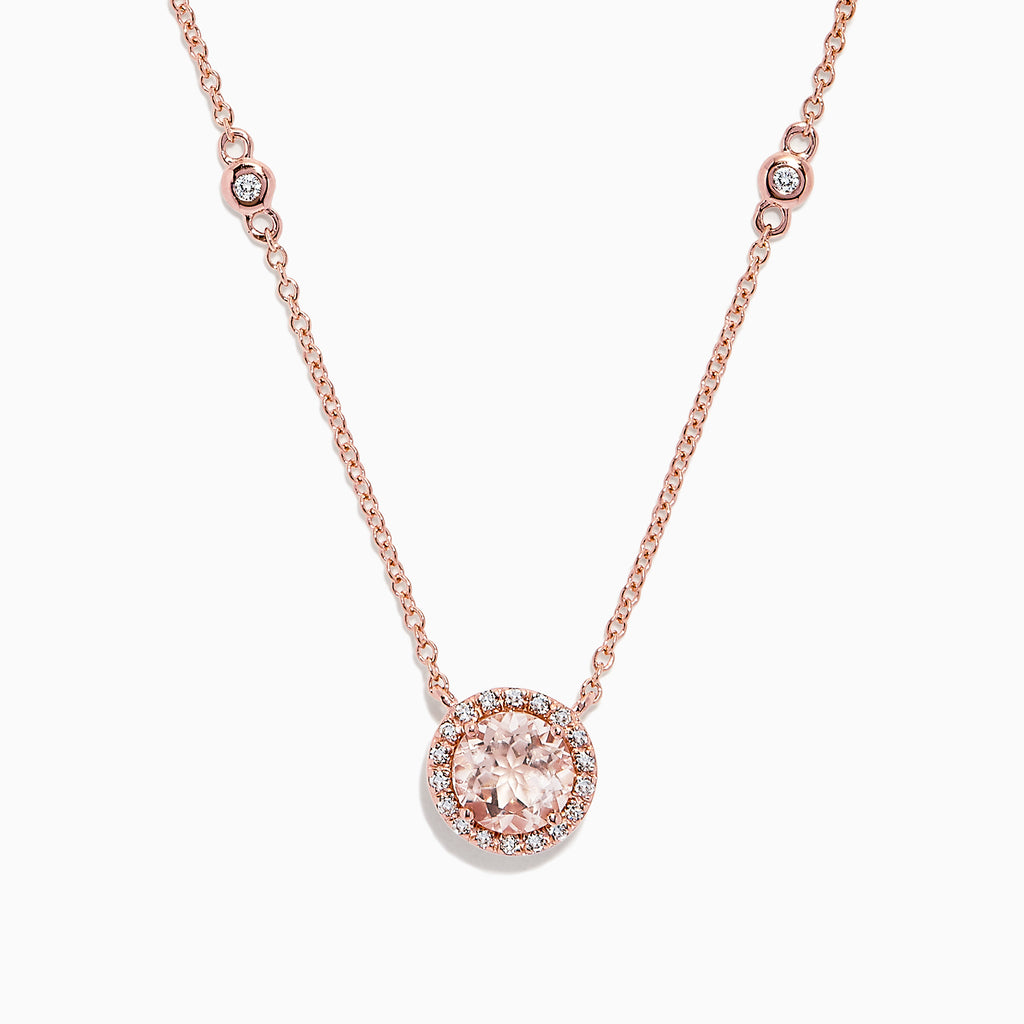 Effy Blush 14K Rose Gold Morganite and Diamond Station Necklace, 1.05 TCW