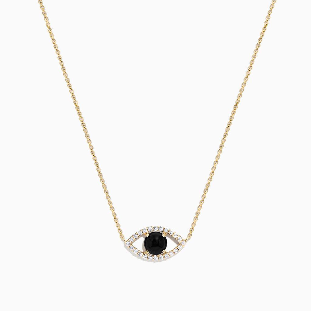 Effy Novelty 14K Yellow Gold Onyx and Diamond Evil Eye Necklace, 1.12 TCW