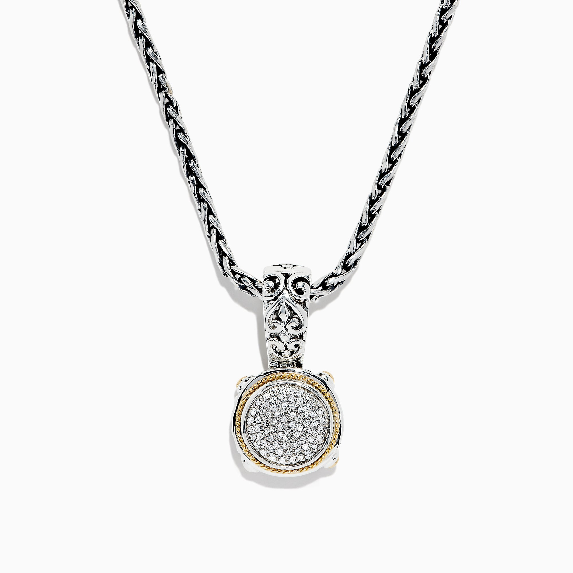 Effy 925 Sterling Silver & 18K Gold Diamond Pendant, 0.21 TCW