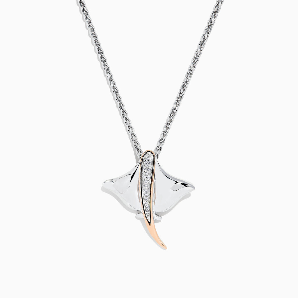 Effy 925 Sterling Silver & 14K Gold Diamond Stingray Pendant, 0.05 TCW