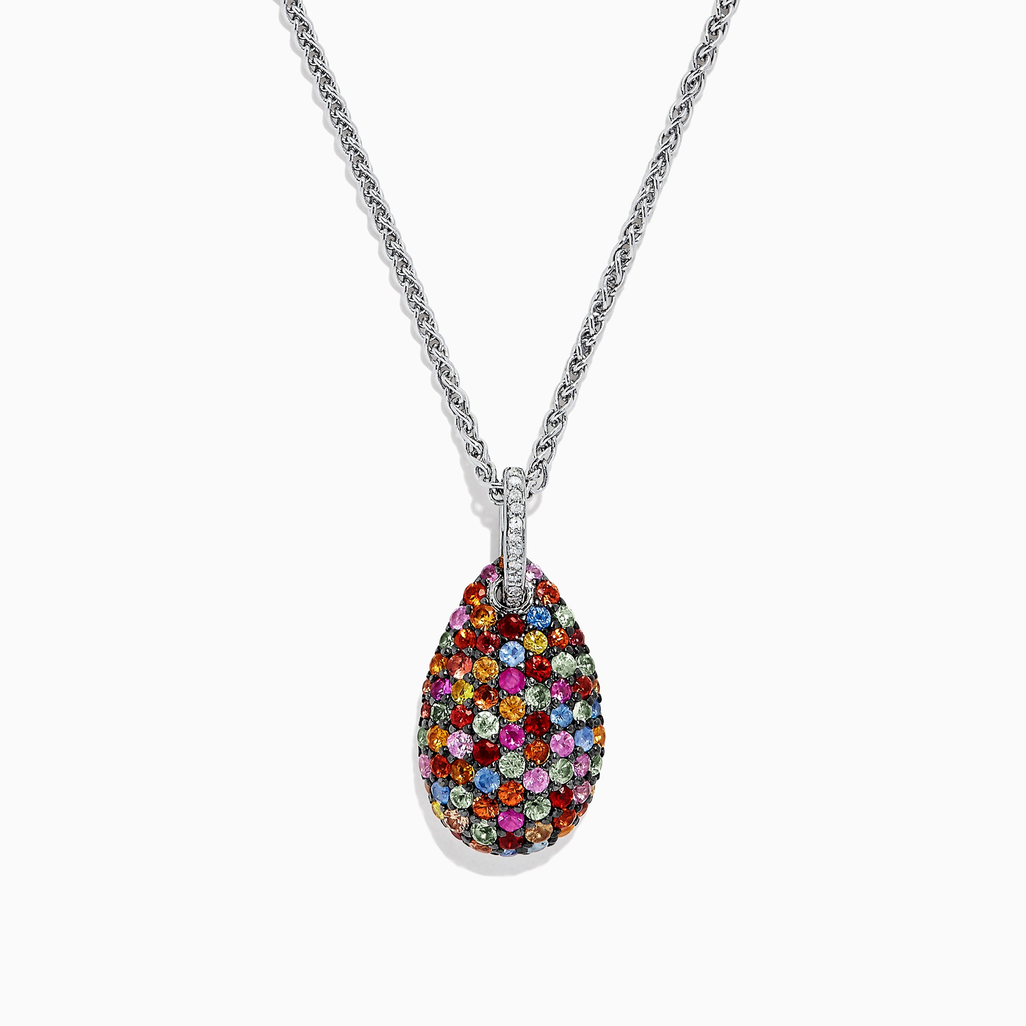 Effy Splash Sterling Silver Multi Sapphire & Diamond Pendant, 3.26 TCW