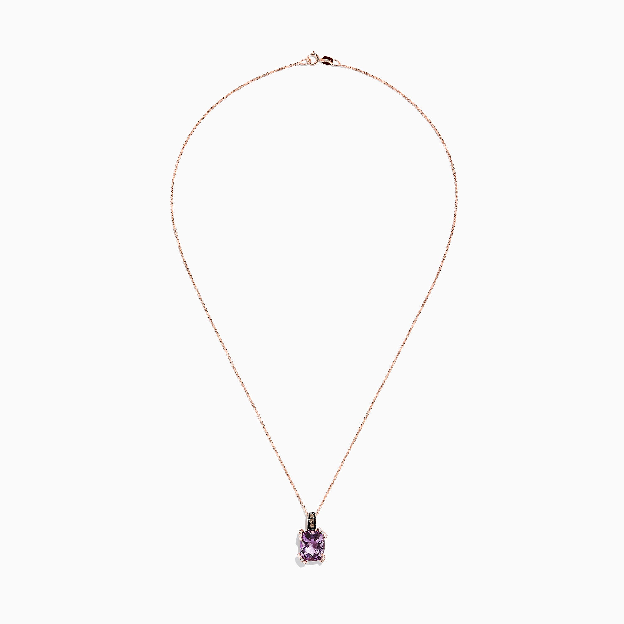 Effy 14K Rose Gold Amethyst and Diamond Pendant, 3.92 TCW