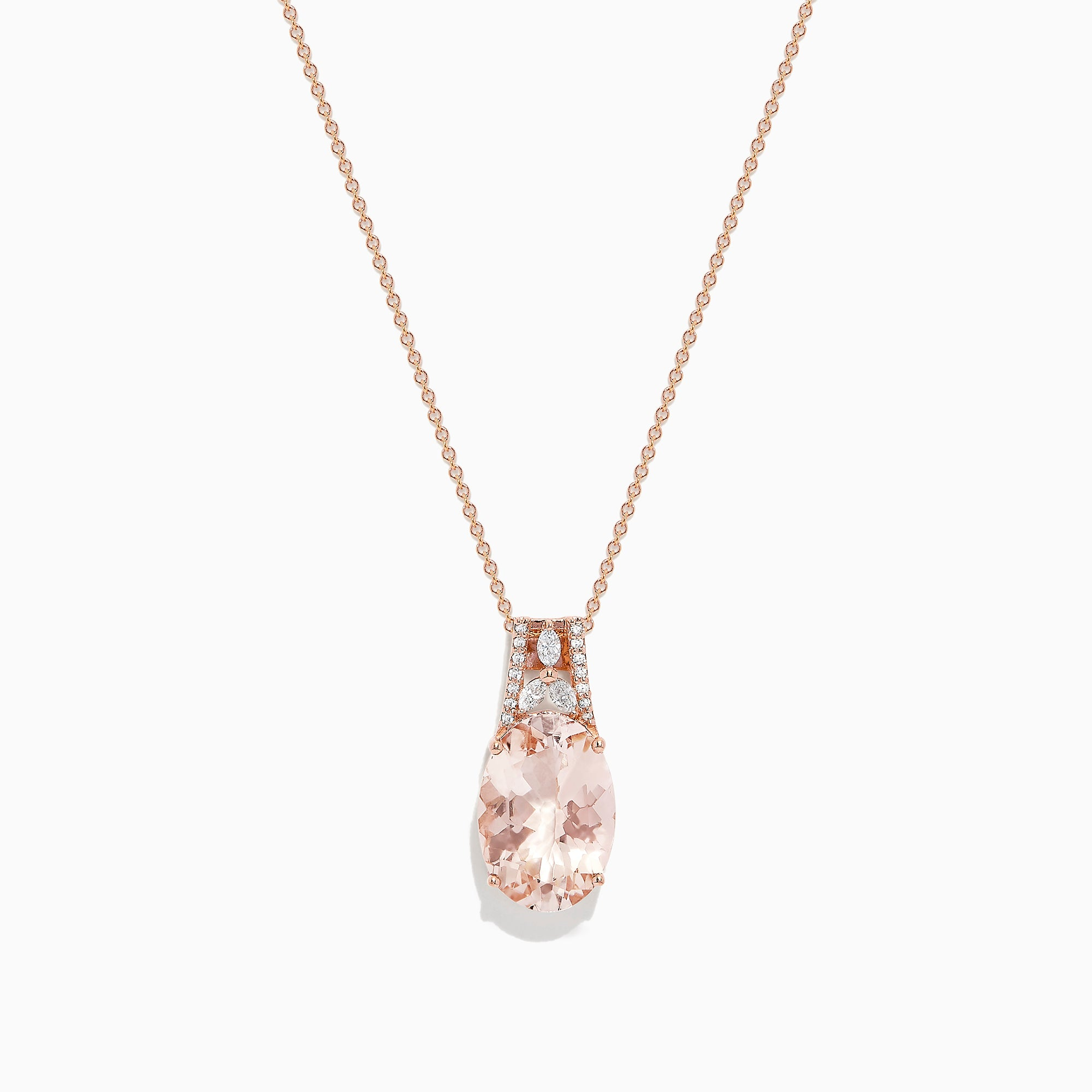 Effy 14K Rose Gold Morganite and Diamond Pendant, 5.55 TCW