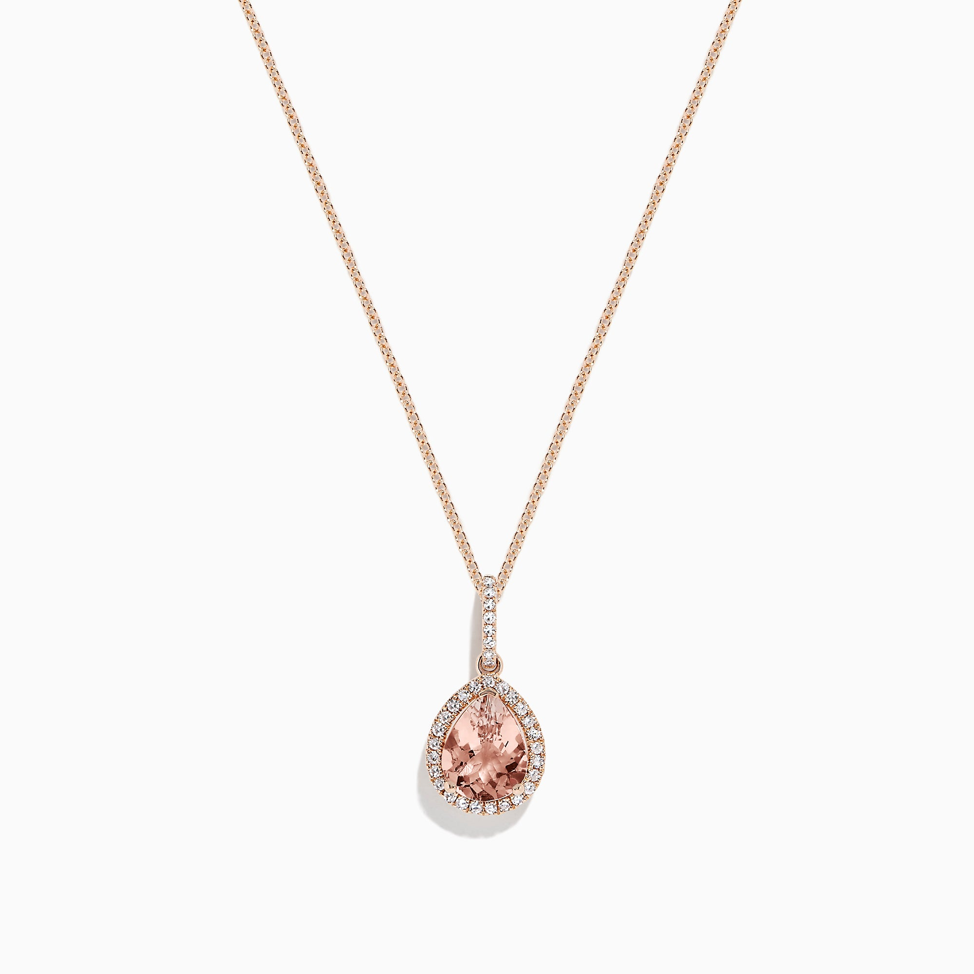 Effy 14K Rose Gold Morganite and Diamond Pendant, 1.55 TCW